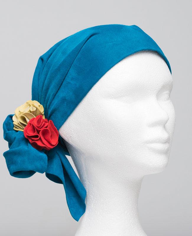 Scarflett® - Coloris bleu canard - Foulard alopécie - Cancer