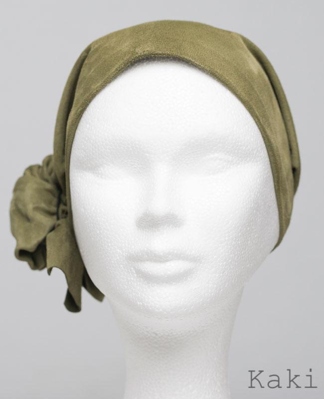 Foulard en cuir doux - alopécie cancer - couleur vert kaki