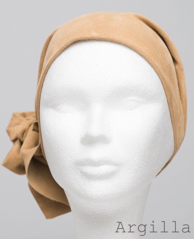 Foulard en cuir doux - alopécie cancer - couleur beige jaune argile