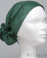 Foulard en cuir doux - alopécie cancer - couleur vert billard