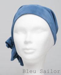Foulard en cuir doux - alopécie cancer - couleur bleu sailor