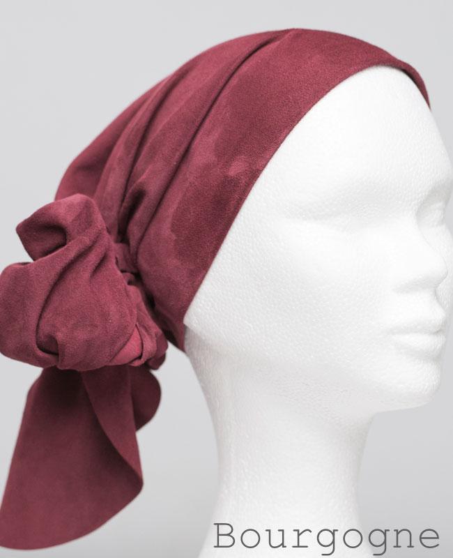 Foulard en cuir doux - alopécie cancer - couleur rouge bourgogne