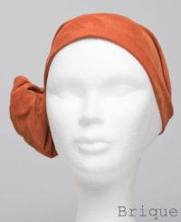 Foulard en cuir doux - alopécie cancer - couleur rouge orange brique
