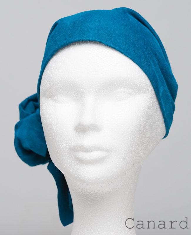 Foulard en cuir doux - alopécie cancer - couleur bleu canard