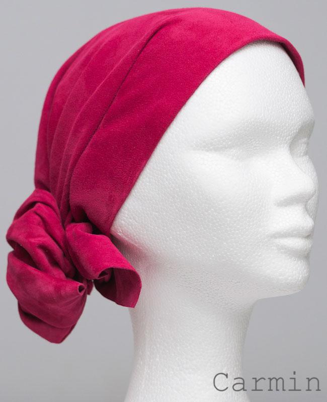 Foulard en cuir doux - alopécie cancer - couleur rouge carmin
