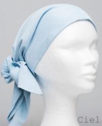 Foulard en cuir doux - alopécie cancer - couleur bleu ciel