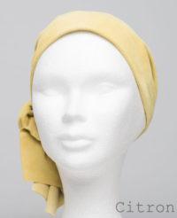 Foulard en cuir doux - alopécie cancer - couleur jaune citron
