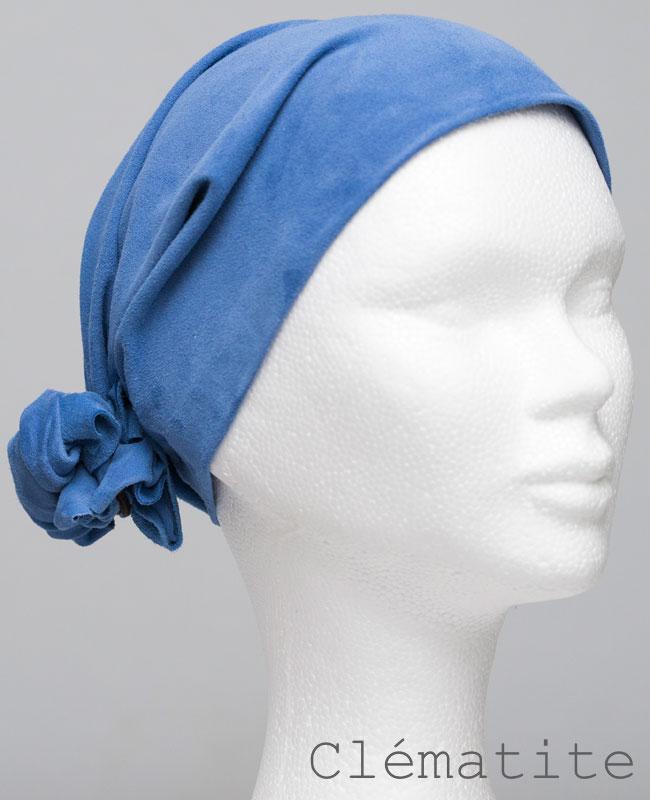 Foulard en cuir doux - alopécie cancer - couleur bleu clématite