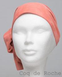 Foulard en cuir doux - alopécie cancer - couleur orange coq de roche