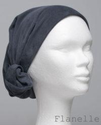 Foulard en cuir doux - alopécie cancer - couleur gris flanelle