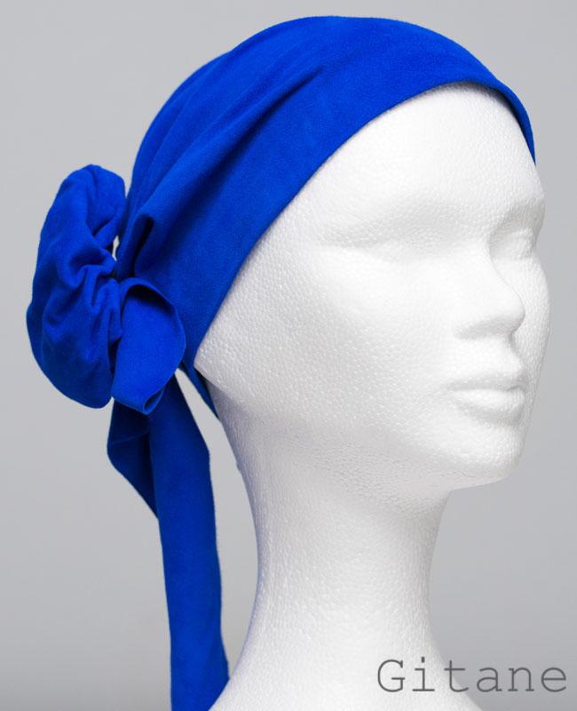 Foulard en cuir doux - alopécie cancer - couleur bleu gitane