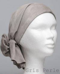 Foulard en cuir doux - alopécie cancer - couleur gris perle