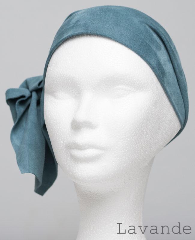 Foulard en cuir doux - alopécie cancer - couleur bleu lavande