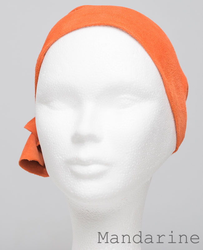 Foulard en cuir doux - alopécie cancer - couleur orange mandarine