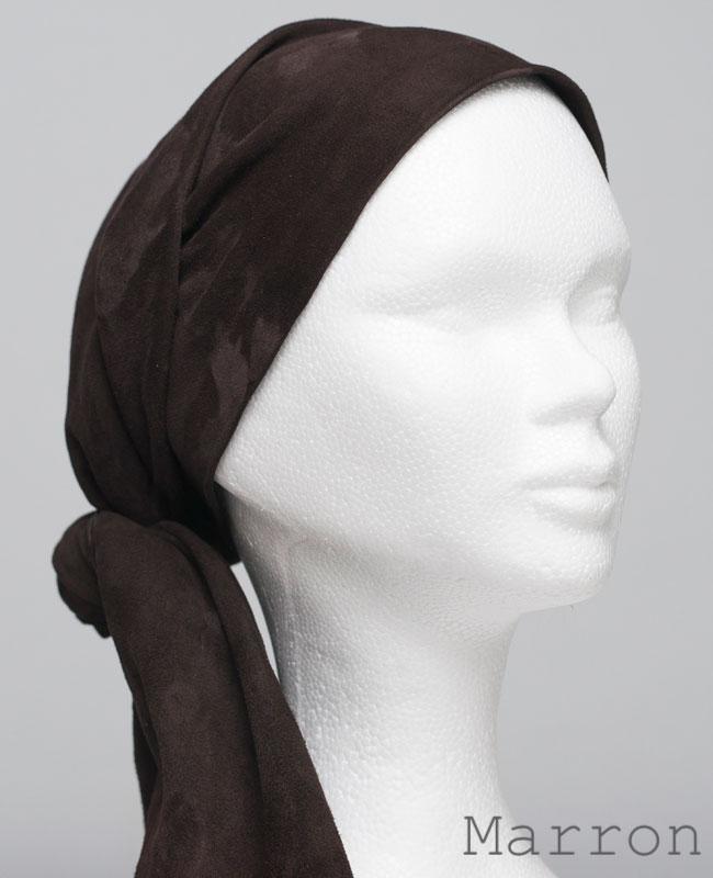 Foulard en cuir doux - alopécie cancer - couleur marron