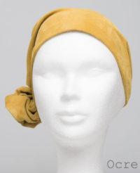 Foulard en cuir doux - alopécie cancer - couleur jaune ocre