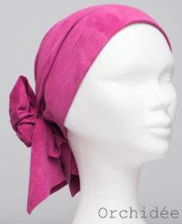 Foulard en cuir doux - alopécie cancer - couleur rose orchidée