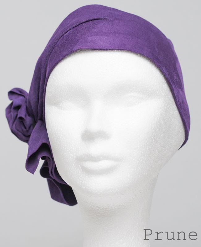 Foulard en cuir doux - alopécie cancer - couleur violet prune