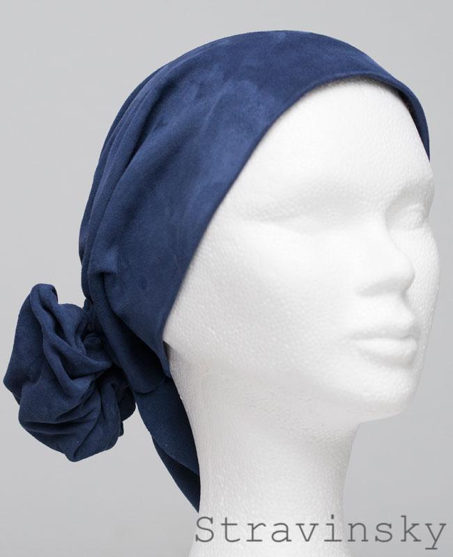 Foulard en cuir doux - alopécie cancer - couleur bleu stravinsky