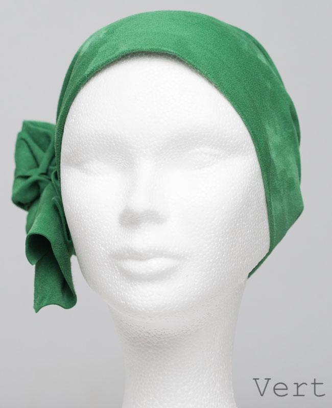 Foulard en cuir doux - alopécie cancer - couleur vert