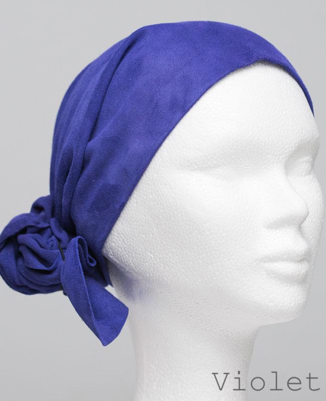 Foulard en cuir doux - alopécie cancer - couleur violet