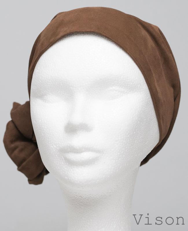 Foulard en cuir doux - alopécie cancer - couleur marron vison