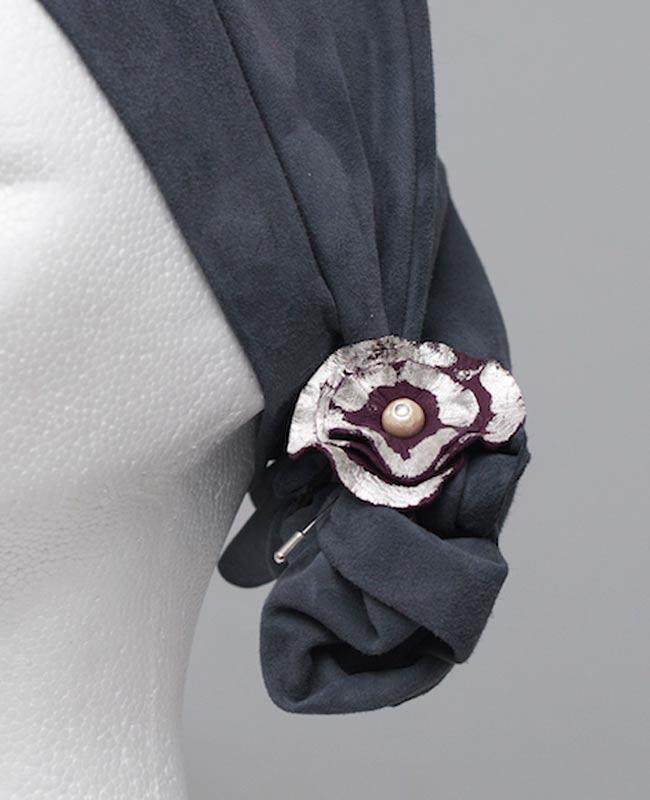 bijoux broche vêtement cuir argent fleur - cécile krée - création fabrication artisan 78