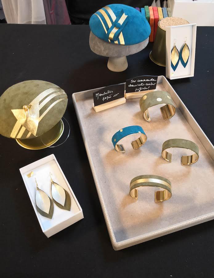 créations artisanales en cuir - bibi - boucles oreilles - bracelet - manchette - 78 - feucherolles - versailles