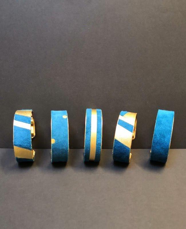 bijoux Bracelets manchette - métal et cuir - création et fabrication artisanale - 78