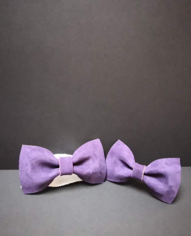 accessoire noeud papillon cuir homme couleur violet prune artisan cécile krée 78