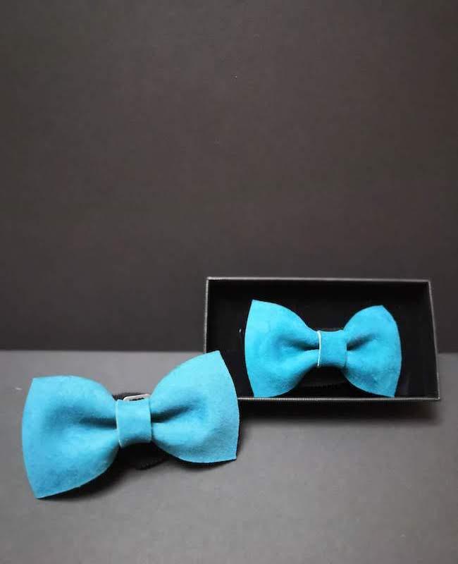 accessoire noeud papillon cuir homme bleu artisan cécile krée 78